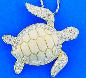 SEA TURTLE,STERLING,PENDANT,GOLD PLATE