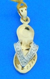 14k diamond flip flop pendant