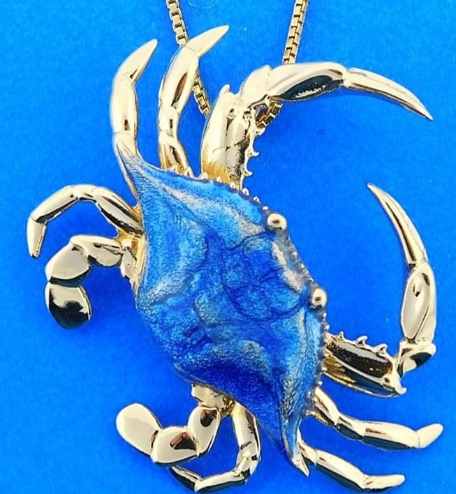 Blue Crab 3d Pendant 14k Yellow Gold Amp Blue Porcelain