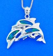DOLPHIN,OPAL,STERLING,PENDANT