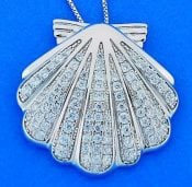 SHELL,CZ,PENDANT,STERLING