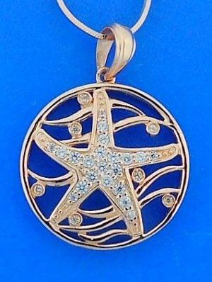 starfish,rose,wave,pendant,sterling