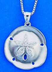 SAND DOLLAR,WHITE GOLD,PENDANT