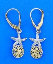 STARFISH,SAND DOLLAR,EARRING,14K