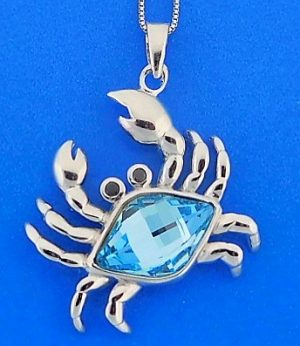 CRAB,CRYSTA,BLUE,STERLING,PENDANT
