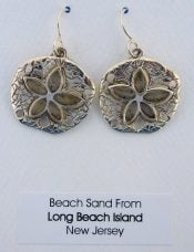 SAND DOLLAR,BEACH SAND,EARRING,STERLING