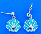 SHELL,OPAL,DANGLE,EARRING,STERLING
