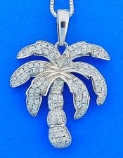 PALM TREE,CZ,PENDANT,STERLING