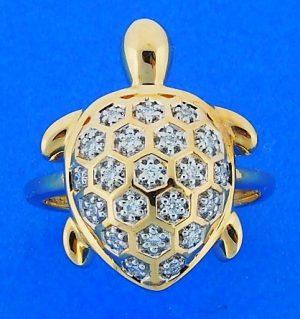 TURTLE,RING,14K,RING,DIAMOND