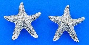 STAR EARRINGS,CZ,STERLING