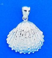 SHELL,DIAMOND-CUT,STERLING,PENDANT