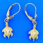 SEA TURTLE,LEVER,DANGLE EARRING,14K