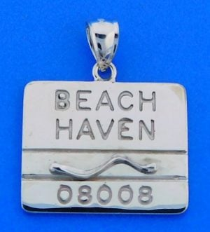 BEACH HAVEN,LBI,LONG BEACH ISLAND,BADGE,14K WHITE GOLD