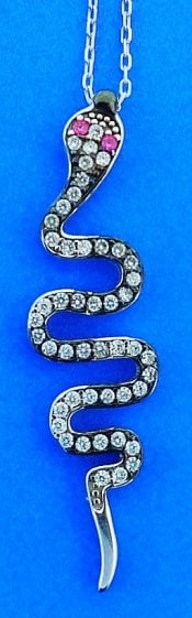 SNAKE,CZ,PENDANT,NECKLACE,STERLING