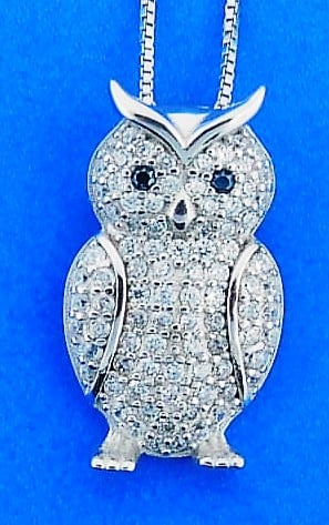 OWL,PENDANT,CZ,STERLING
