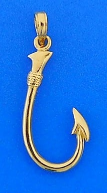FISHING HOOK,PENDANT,14K