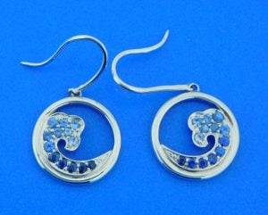 sterling silver & sapphire wave earrings