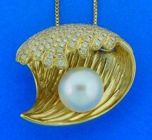 Alamea Wave Diamond Pearl Pendant/Slide Necklace, 14K Yellow Gold