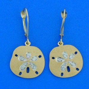 14k denny wong sand dollar earrings yellow gold
