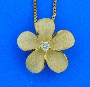 14k denny wong plumeria pendant