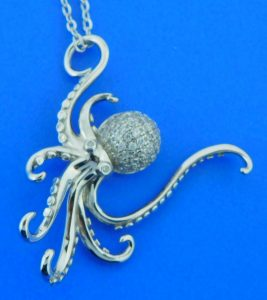 sterling silver octopus cz pendant