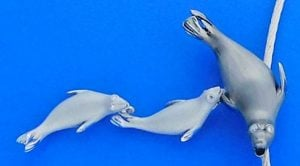 Denny Wong Mother & Baby Seals, Pendant/Necklace, 14k 2-Tone