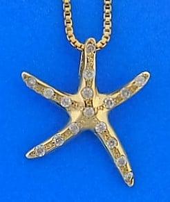 Starfish Diamond Pendant, 14k