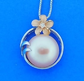 Denny Wong Plumeria Pearl Pendant, Precious Silver/18k Rose Gold