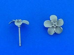 Denny Wong 8mm Plumeria Post Earring, Precious Silver