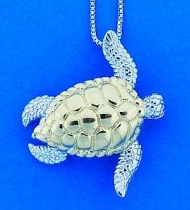 Steven Douglas Sea Turtle Pendant, Sterling Silver/14k