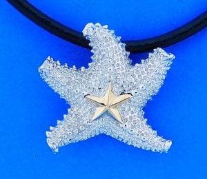 Steven Douglas Starfish Necklace/Pendant, Sterling Silver/14k