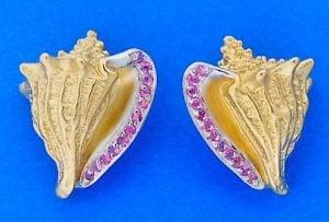 Steven Douglas Conch Shell Pink Sapphire Earrings, 14k Yellow Gold