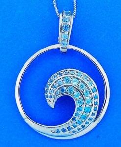 Wave Blue Cz Pendant, Sterling Silver, Large