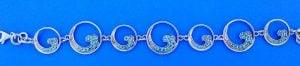 Wave Nautical Bracelet Blue Topaz Sterling Silver