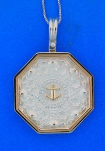 Sailors Valentine Pendant, 14k/Sterling Silver, Large