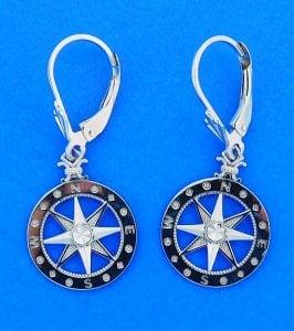 Compass Rose Dangle Earrings - White Gold