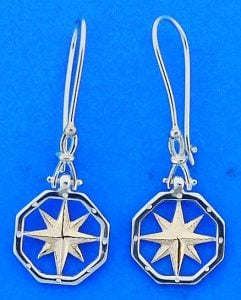 Compass Rose Dangle Shackle Earrings, Sterling Silver/14k