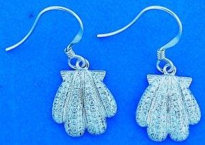 Shell Cz Fishhook Earrings, Sterling Silver