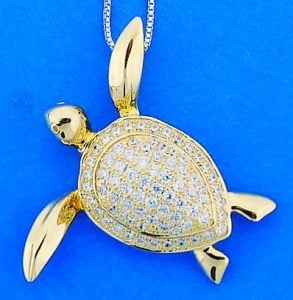 Sea Turtle Gold Plated Pendant, Sterling Silver