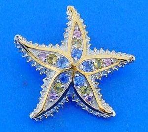 Spikey Starfish Pendant/Slide, Sterling Silver