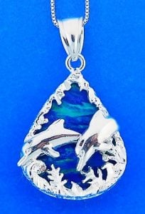 Dolphin Opal Pendnat, Sterling Silver