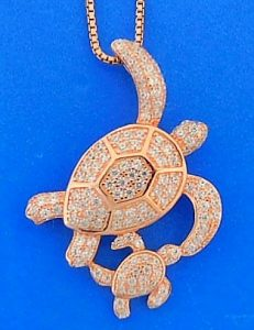 Mother & Baby Sea Turtle Cz Pendant, Rose Gold Over Sterling Silver