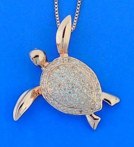 Sea Turtle Cz Pendant, Rose Gold Over Sterling Silver