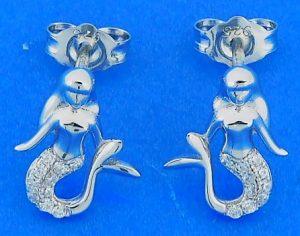 Mermaid Cz Post Earrings, Sterling Silver
