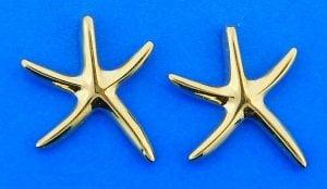 3d Starfish Post Earrings, 14k Yellow Gold