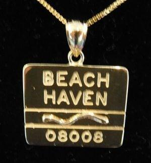 Beach Haven Beach Badge Pendant, 14k