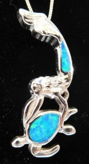 Mermaid And Turtle Opal Pendant Sterling Silver