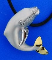 "Steven Douglas ""Breaching Humpback"" Whale Necklace, Sterling Silver/14k"