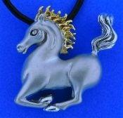 Steven Douglas Prancing Horse Necklace, Sterling Silver 14k