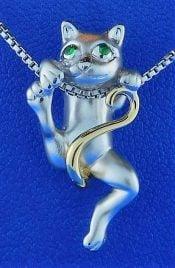 Steven Douglas Cat Pendant, Sterling Silver/14k